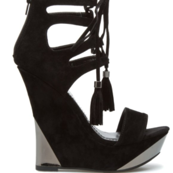 Shanina Black & Silver Lace-up Wedge